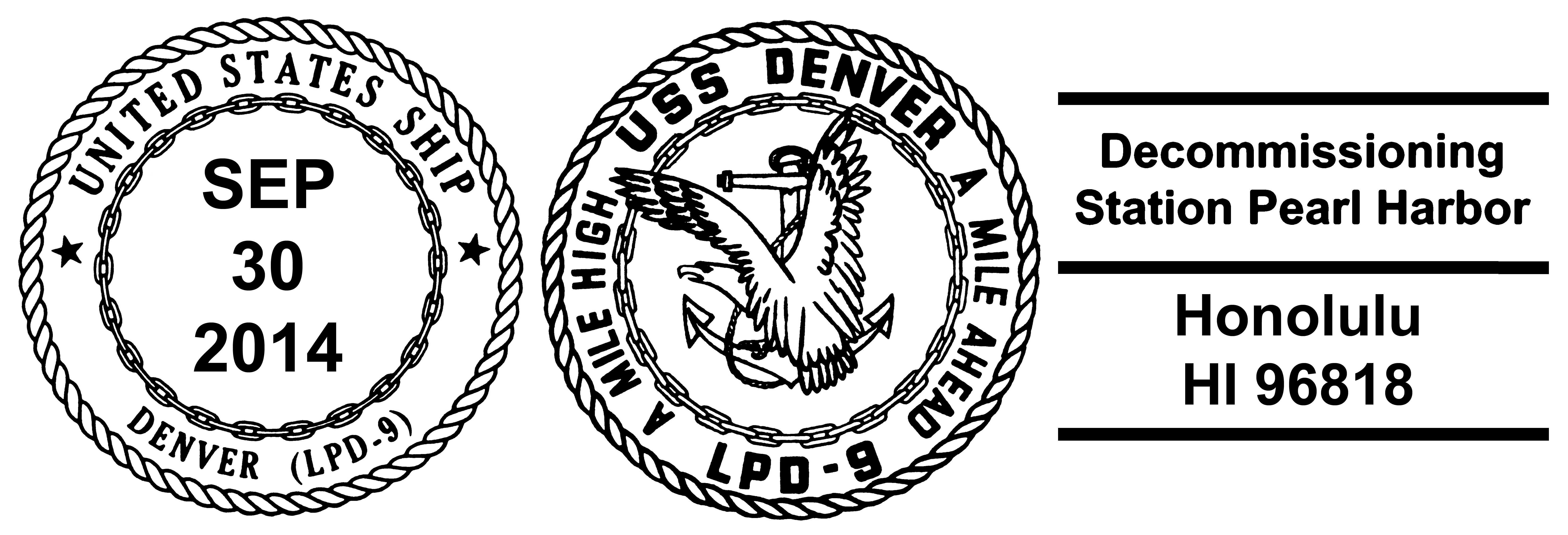 Sonderpoststempel USS DENVER LPD-9 Decommissioning Design: Wolfgang Hechler