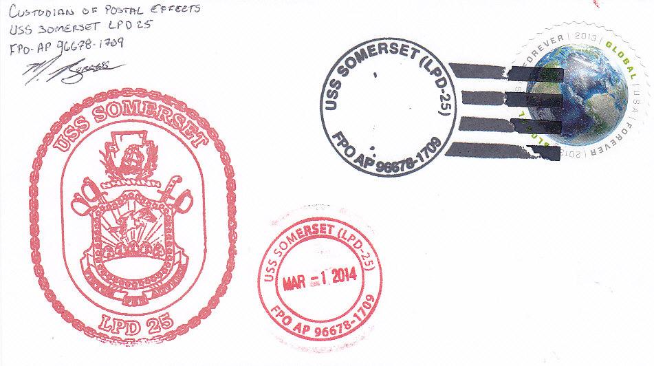 Beleg USS SOMERSET LPD-25 Indienststellung Ship
