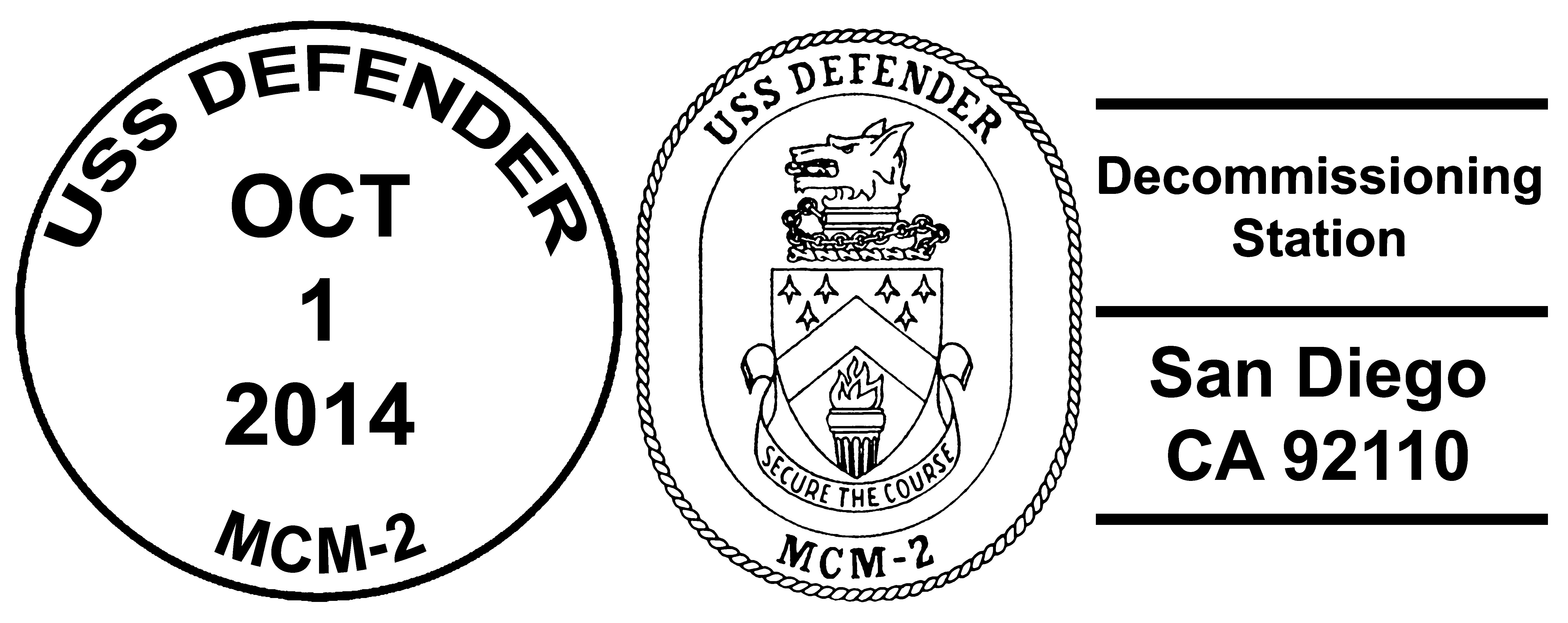 Sonderpoststempel USS DEFENDER MCM-2 Decommissioning Design: Wolfgang Hechler