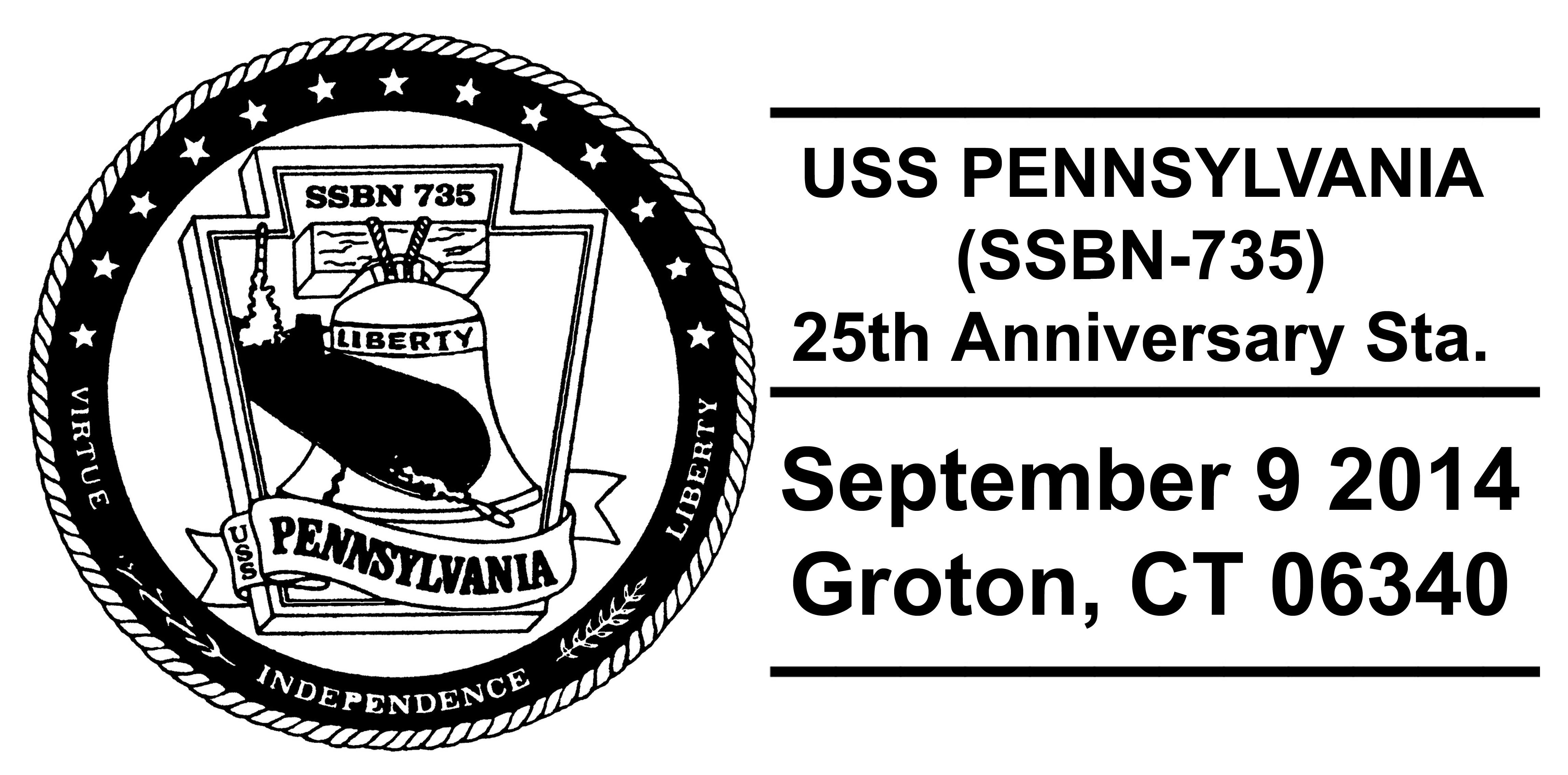 Sonderpoststempel USS PENNSYLVANIA SSBN-735  25 Jahre im Dienst Design: Wolfgang Hechler
