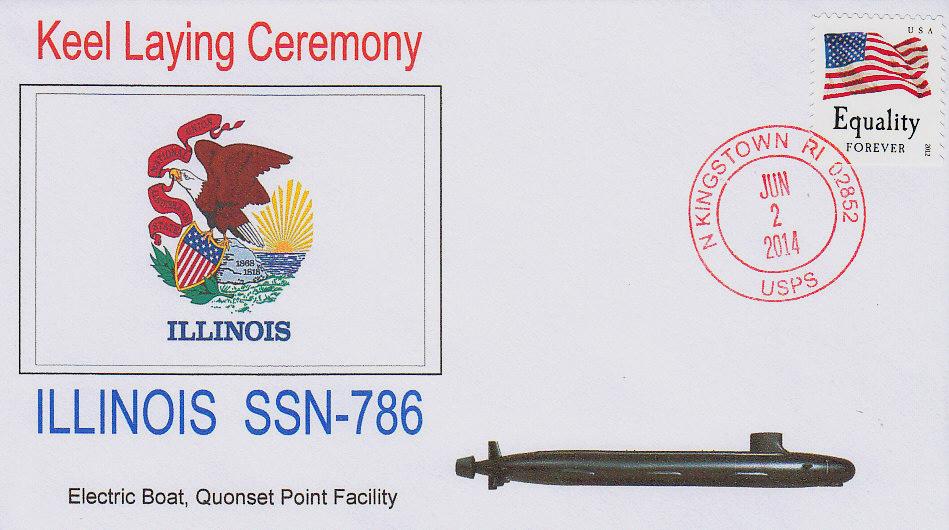 Sonderumschlag USS ILLINOIS SSN-786 Kiellegung