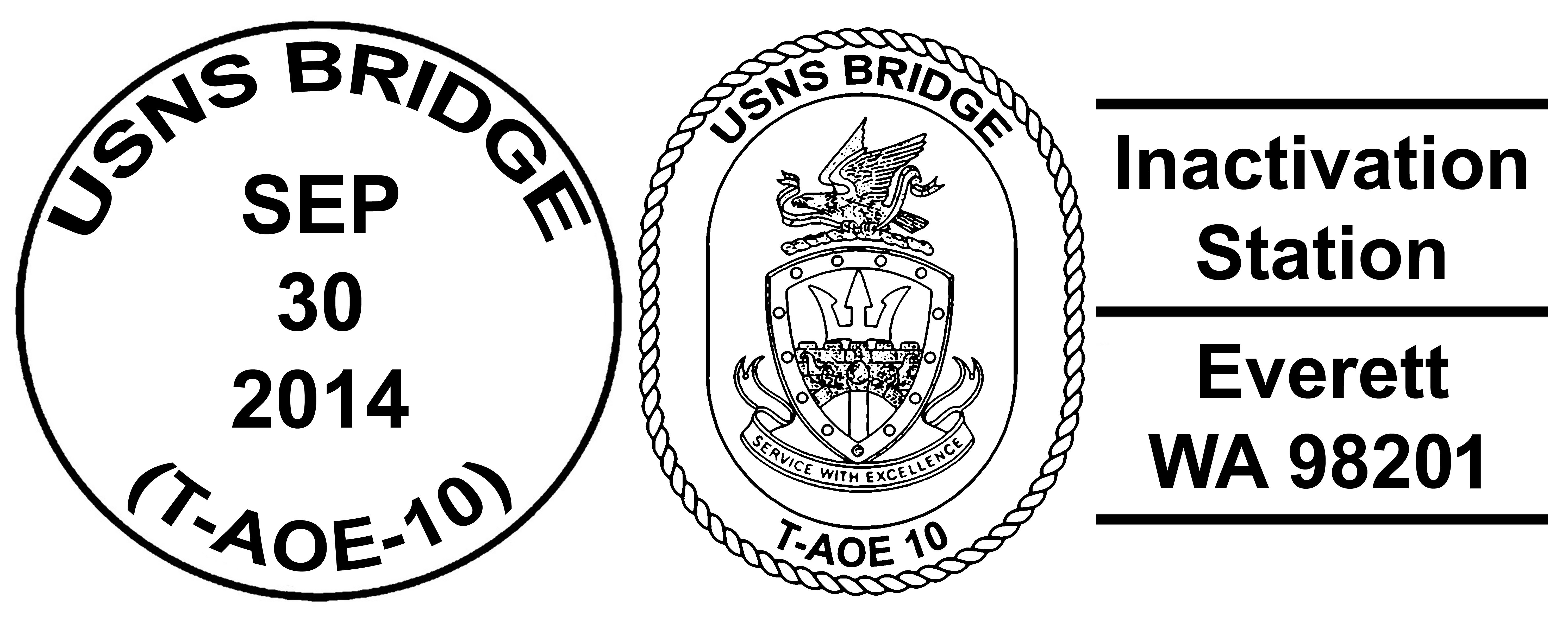 Sonderpoststempel USNS BRIDGE T-AOE 10 Inactivation Design: Wolfgang Hechler