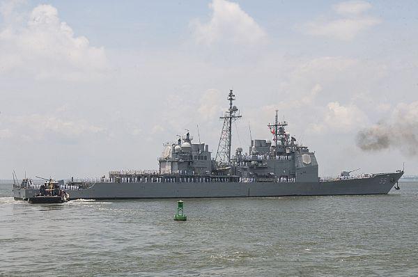 USS LEYTE GULF CG-55 Auslaufen Norfolk am 25.06.2014 Bild: U.S. Navy