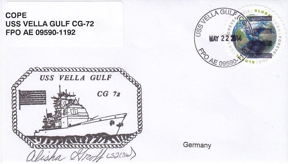 Beleg USS VELLA GULF CG-72 vom 22.05.14