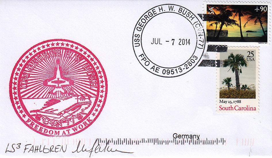 Beleg USS GEORGE H.W. BUSH CVN-77 vom 07.07.2014