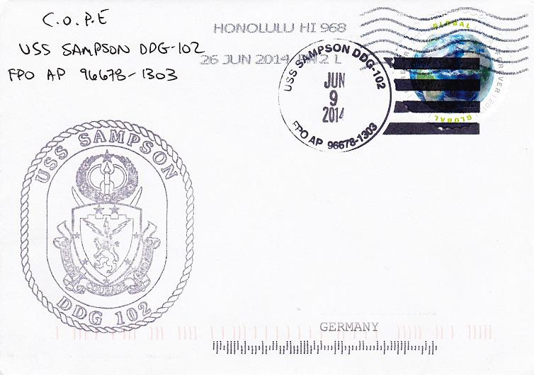 Beleg USS SAMPSON DDG-102 vom 09.06.2014 von Daniel Gornig