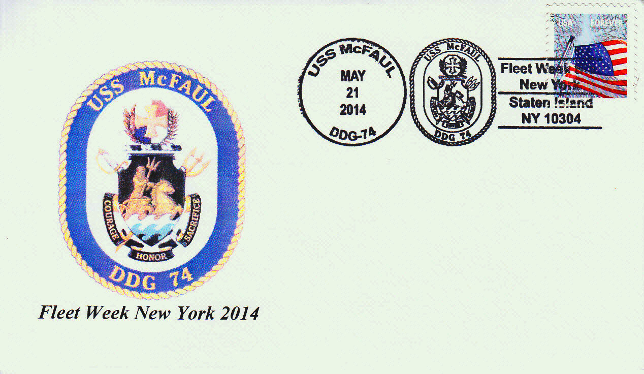 Sonderpoststempel USS McFAUL DDG-74 Fleet Week New York von Karl Friedrich Weyland