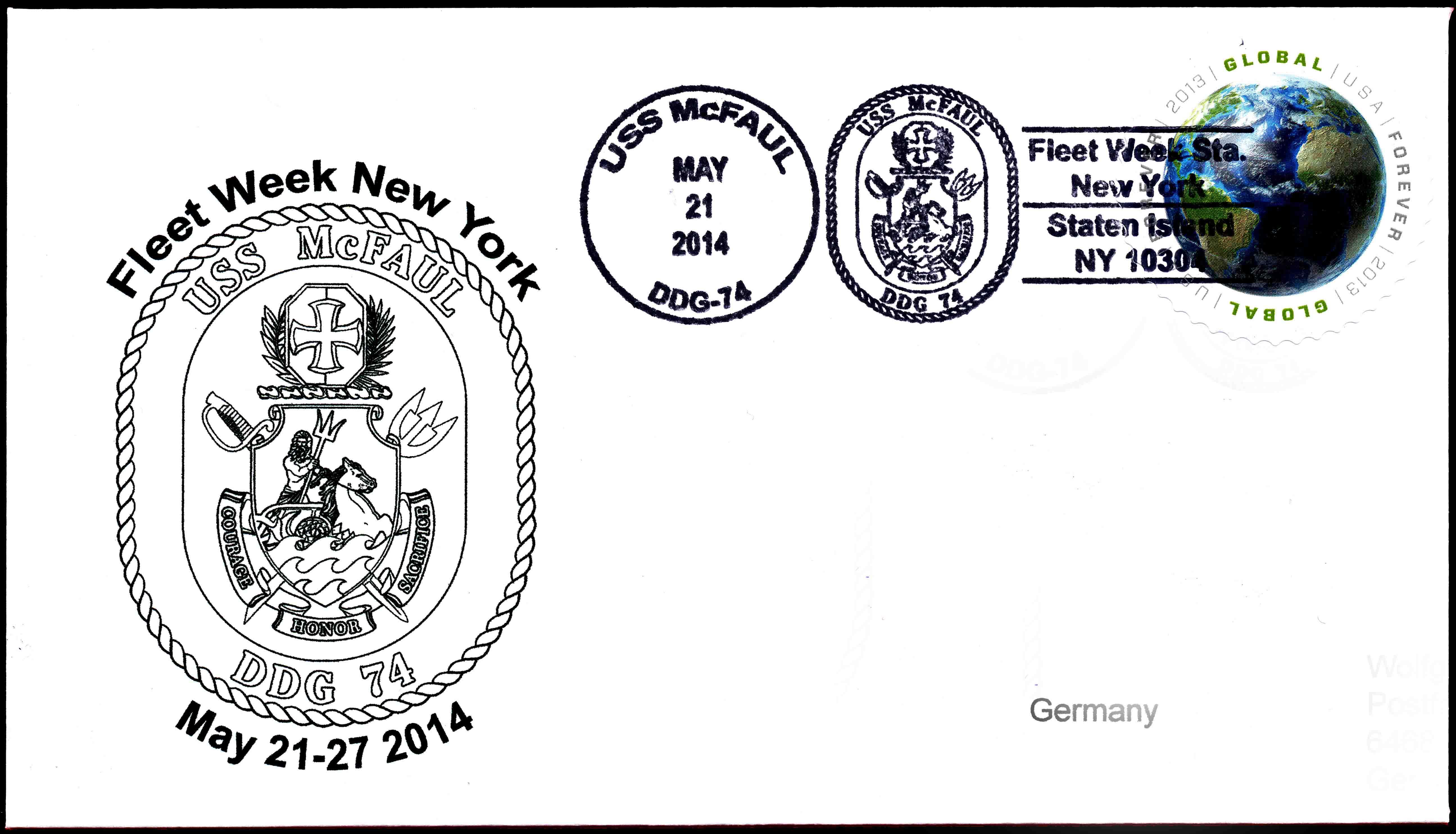 Beleg USS McFAUL Sonderpoststempel Fleet Week New York 2014 von Wolfgang Hechler