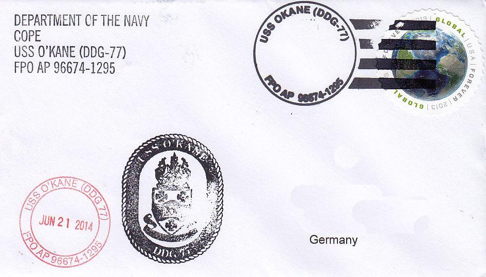 Beleg USS O`KANE DDG-77 vom 21.06.14