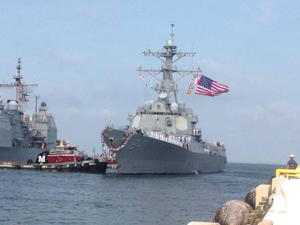 USS NITZE DDG-94 Einlaufen Norfolk am 15.07.2014 Bild: Naval Station Norfolk Facebook Page