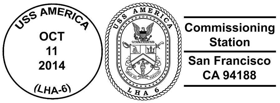 Sonderpoststempel Commissioning USS AMERICA LHA-6 Design: Wolfgang Hechler