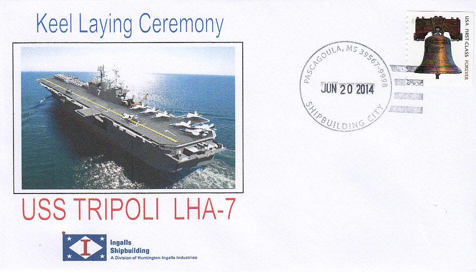 Beleg USS TRIPOLI LHA-7 Kiellegung