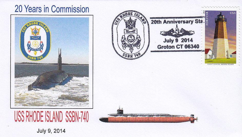 Beleg USS RHODE ISLAND SSBN-740 zum 20. Jahrestag der Indienststellung