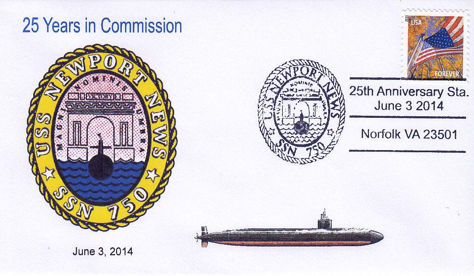 Beleg USS NEWPORT NEWS SSN-750  25 Jahre im Dienst