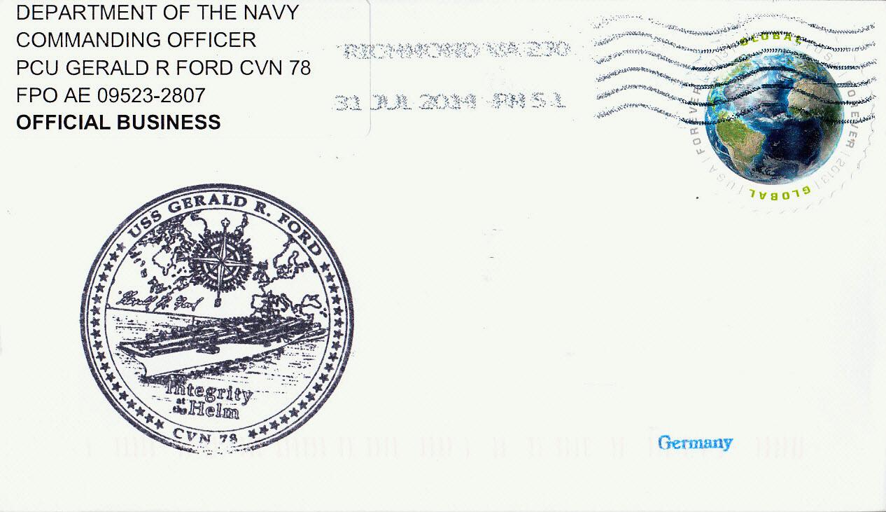 Beleg USS GERALD R. FORD CVN-78 vom 31.07.2014 von Karl Friedrich Weyland