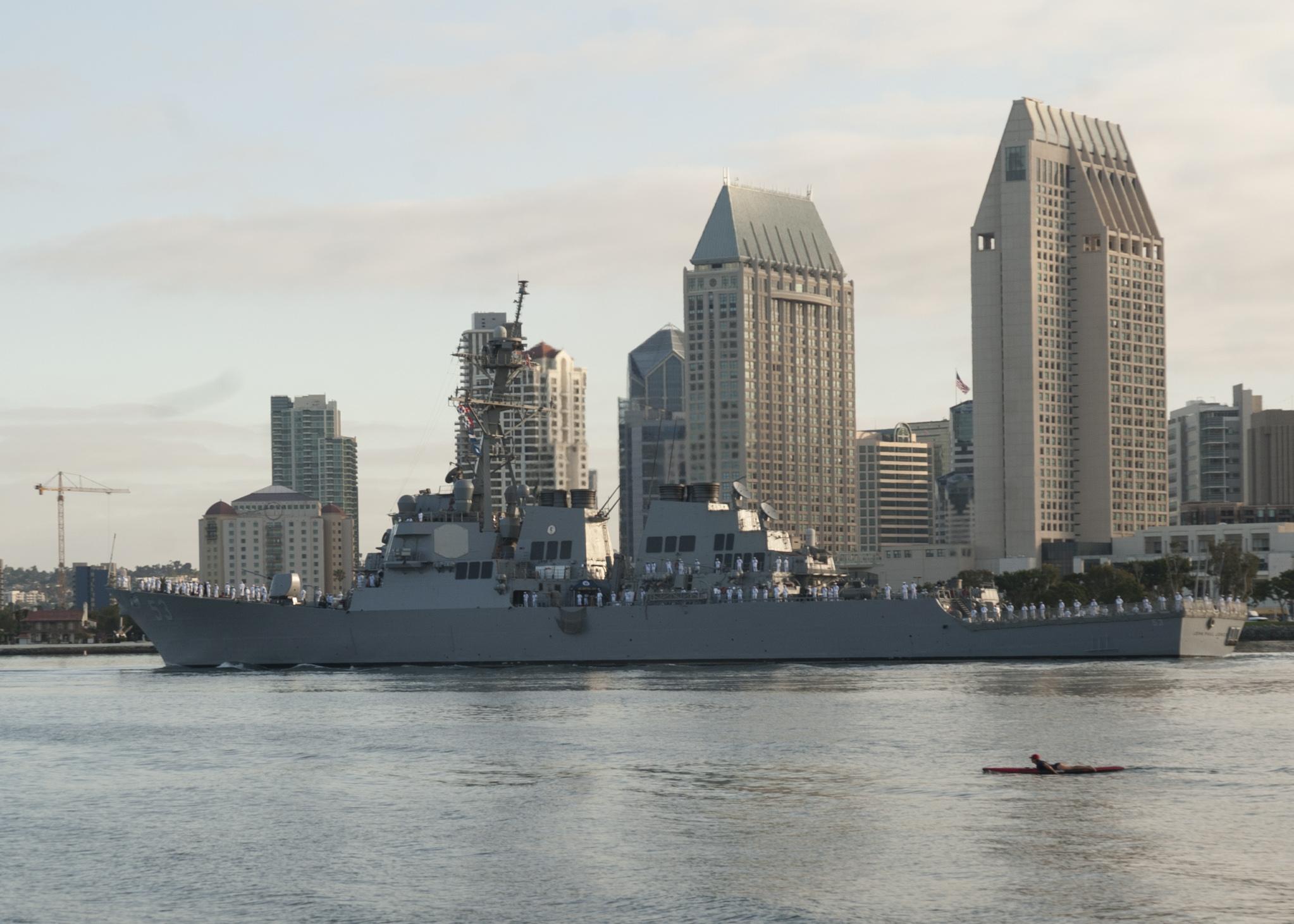 USS JOHN PAUL JONES DDG-53 Auslaufen San Diego 06.08.2014 Bild: U.S. Navy