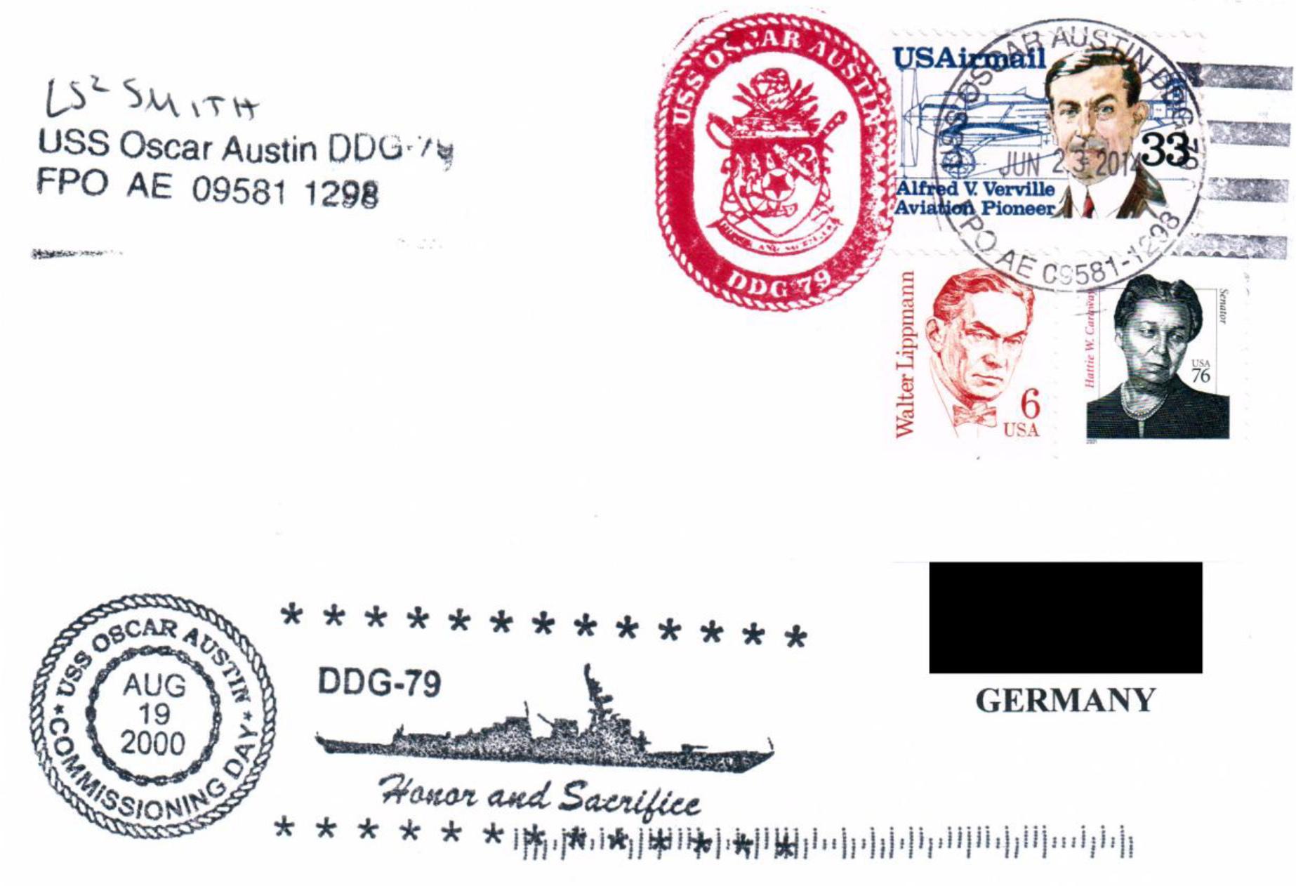 Beleg USS OSCAR AUSTIN DDG-79 Kieler Woche 2014 von Manfred Männig