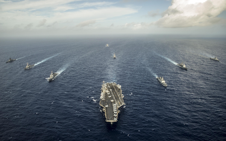 Schiffe bei der Exercise Malabar 2014 Bild: U.S. Navy