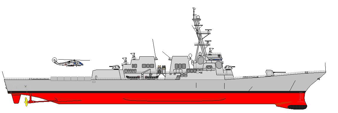 Grafik Zerstörer der ARLEIGH BURKE-Klasse Flight II A Grafik: U.S. Navy