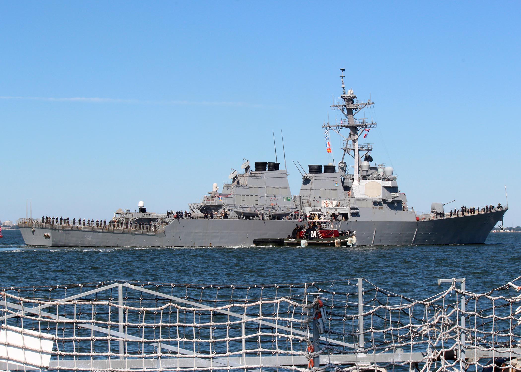 USS MITSCHER DDG-57 Auslaufen Norfolk am 22.09.2014 Bild: U.S. Navy