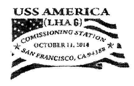Sonderpoststempel USS AMERICA LHA-6 Commissioning Design: USS AMERICA Commissioning Committee