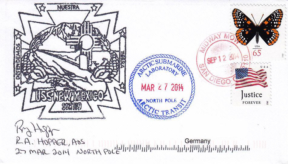 Beleg USS NEW MEXICO SSN-779 Nordpol 27.03.2014
