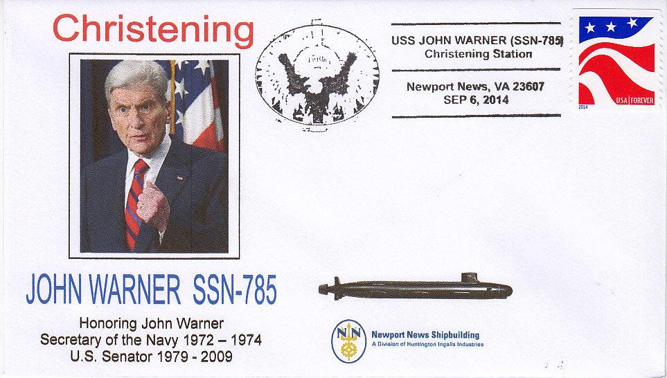 Beleg USS JOHN WARNER SSN-785 Christening
