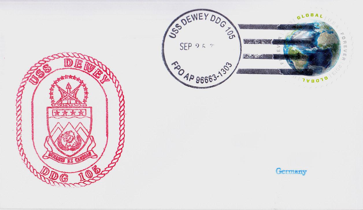 Beleg USS DEWEY DDG-105 vom 25.09.2014 von Karl Friedrich Weyland
