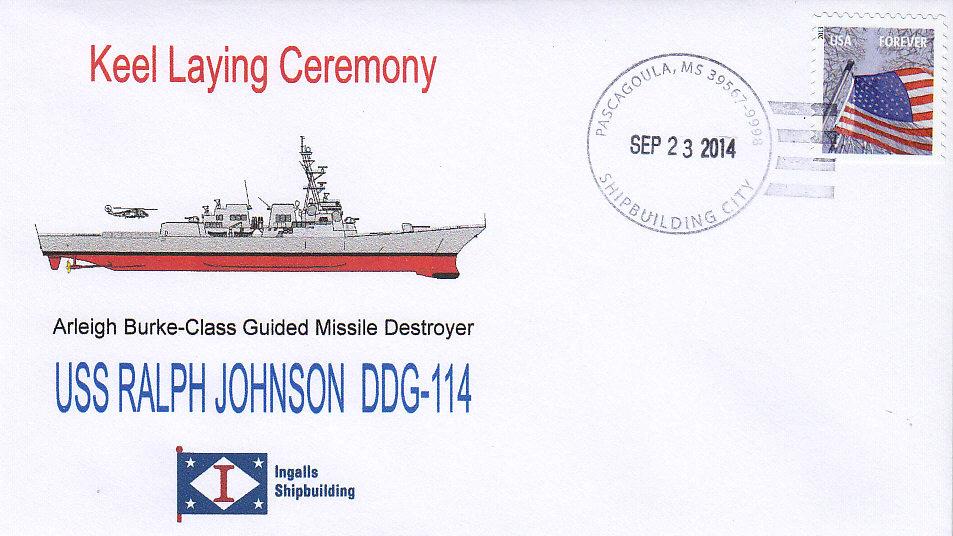 Beleg USS RALPH JOHNSON DDG-114 Kiellegung