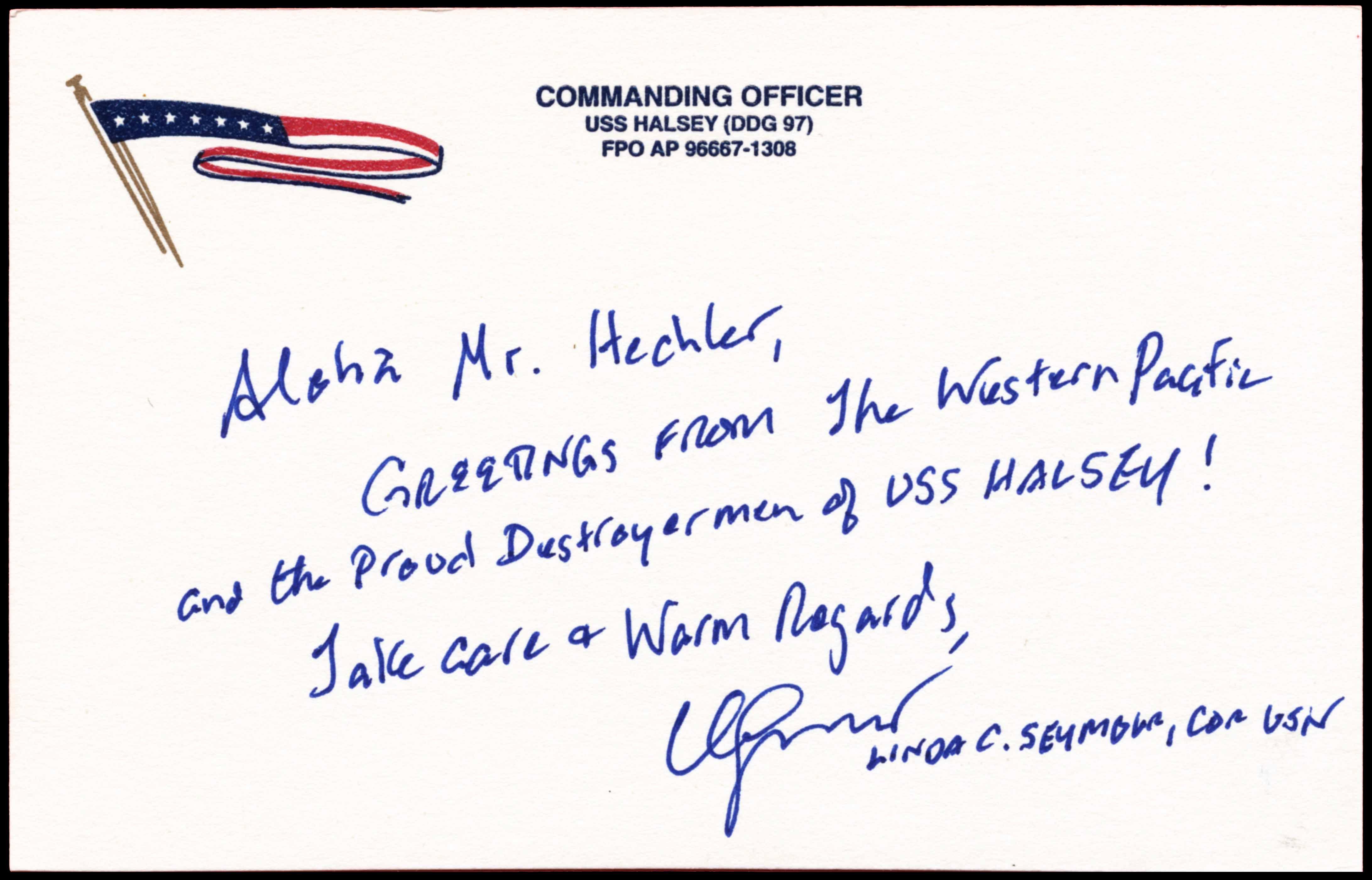 Widmung zum Beleg USS HALSEY DDG-97 vom 24.09.2014 von Wolfgang Hechler