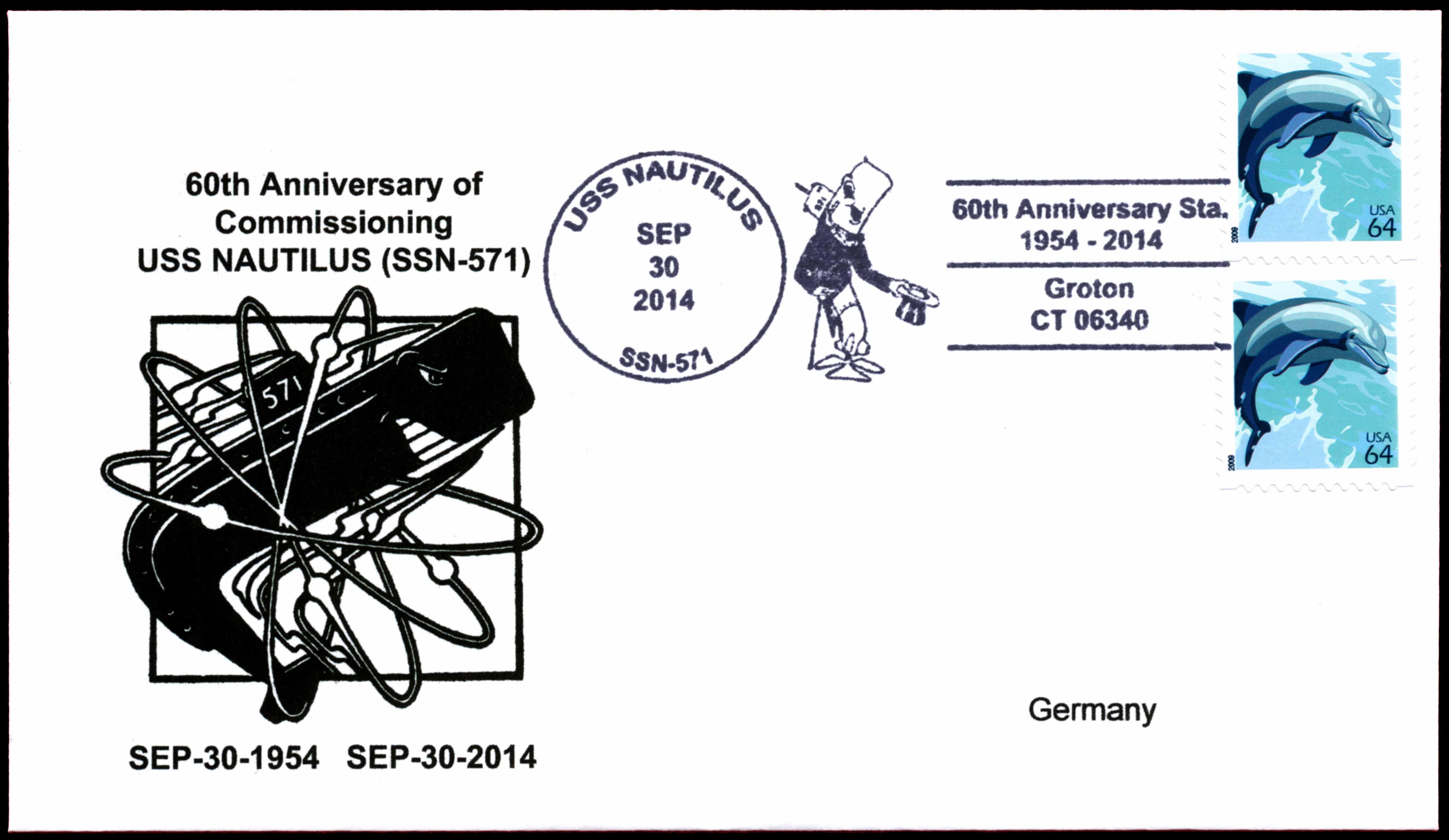 Beleg USS NAUTILUS SSN-571 zum 60. Jahrestag der Indienststellung von Wolfgang Hechler