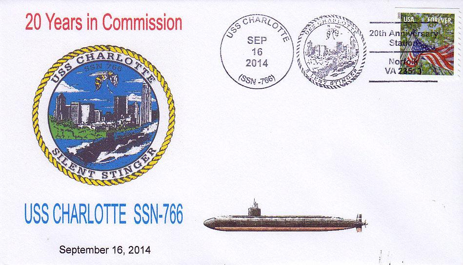 Beleg USS CHARLOTTE SSN-766  20 Jahre im Dienst