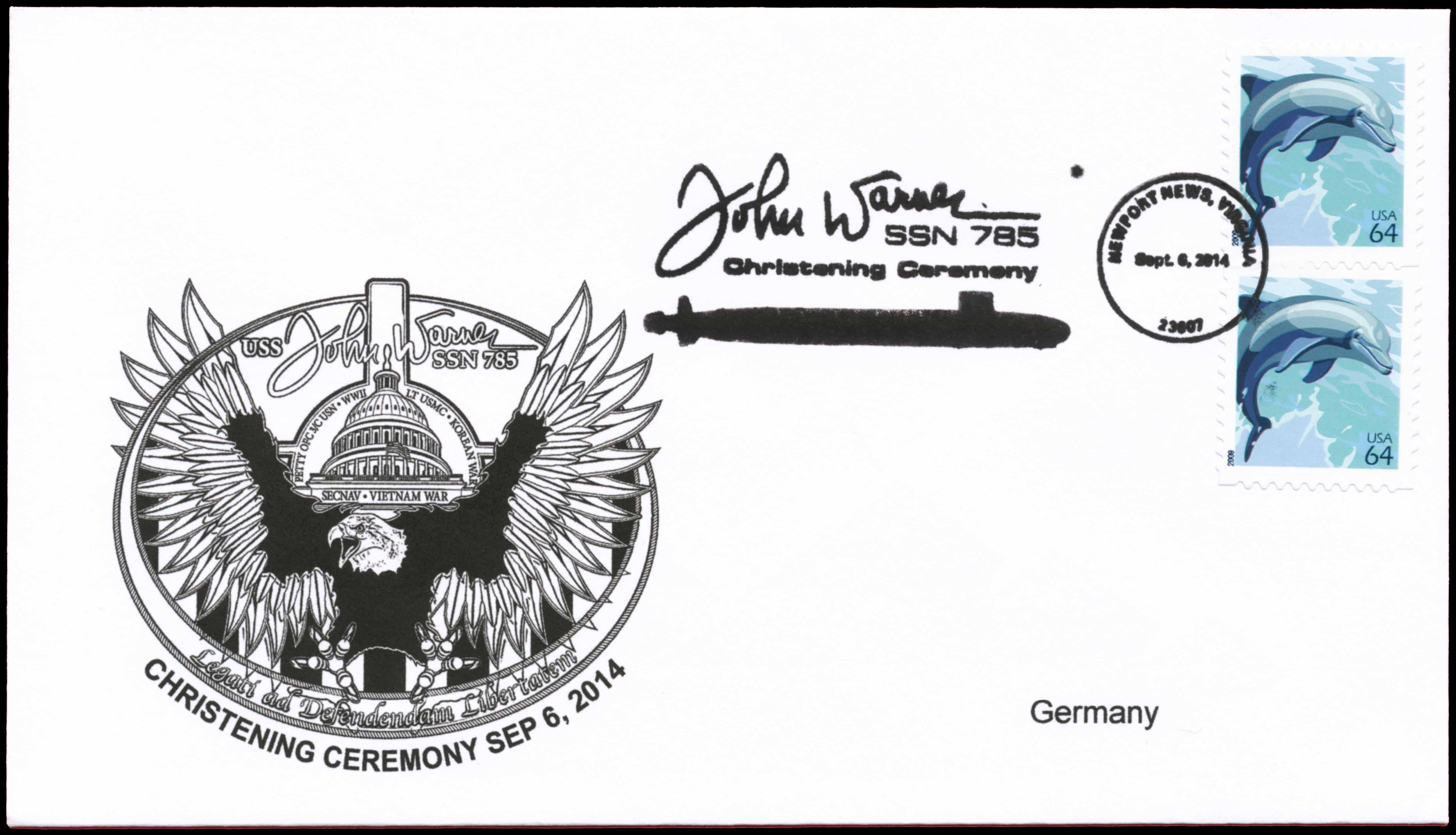 Beleg USS JOHN WARNER SSN-785 Christening von Wolfgang Hechler