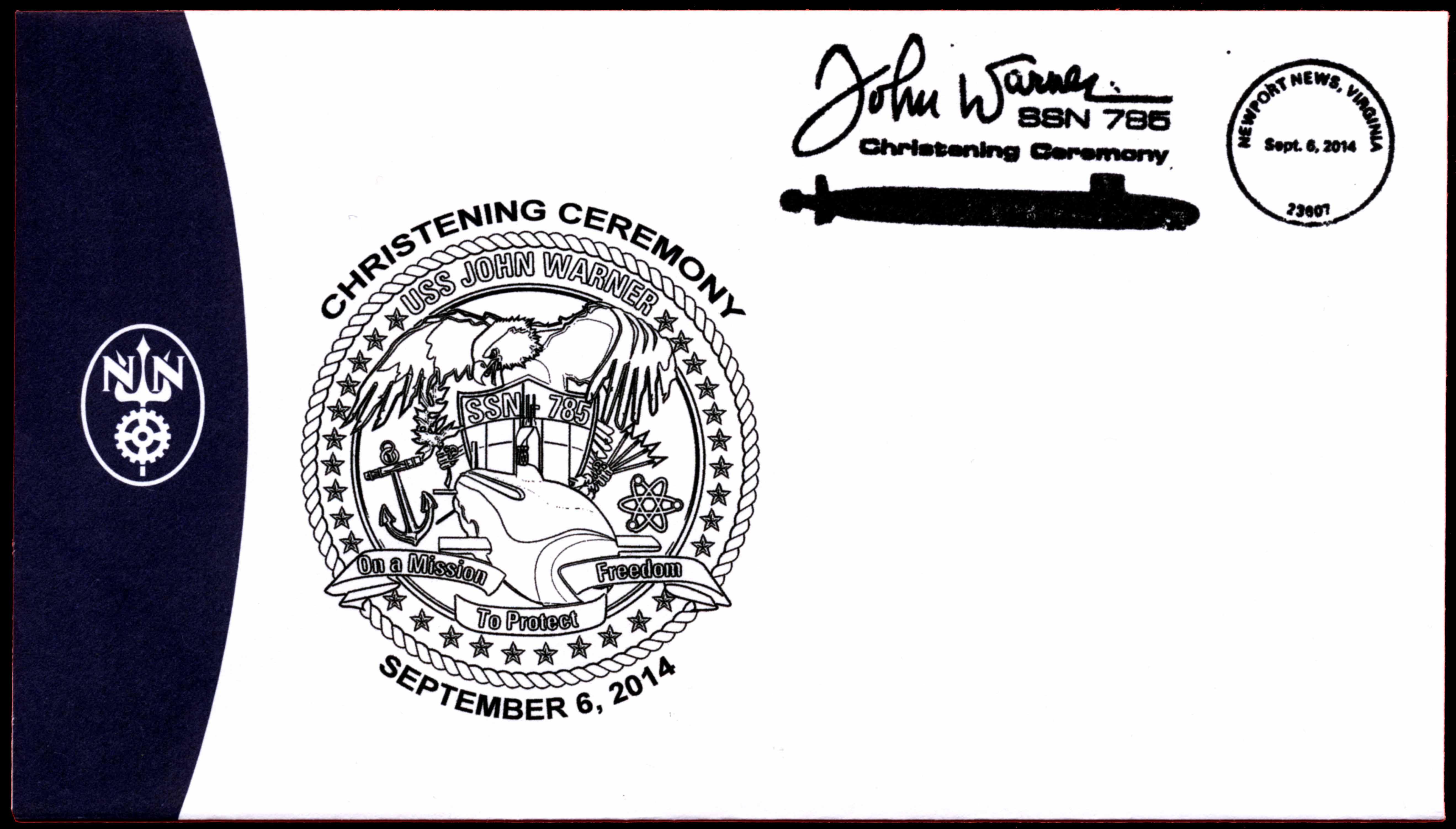 Sonderumschlag USS JOHN WARNER SSN-785 Christening von Newport News Shipbuilding