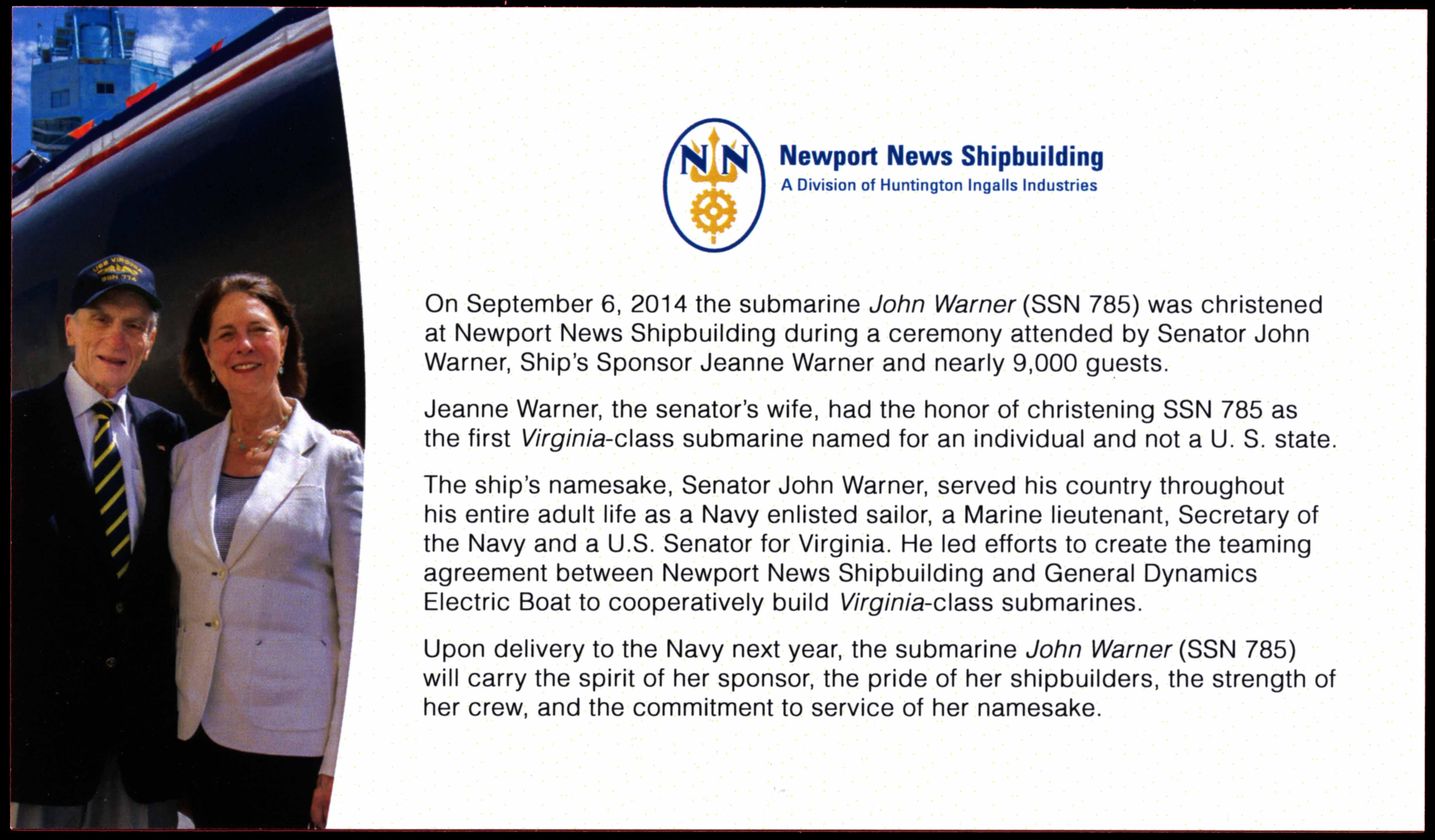 Einlegekarton (Rückseite) zu Sonderumschlag USS JOHN WARNER SSN-785 Christening von Newport News Shipbuilding