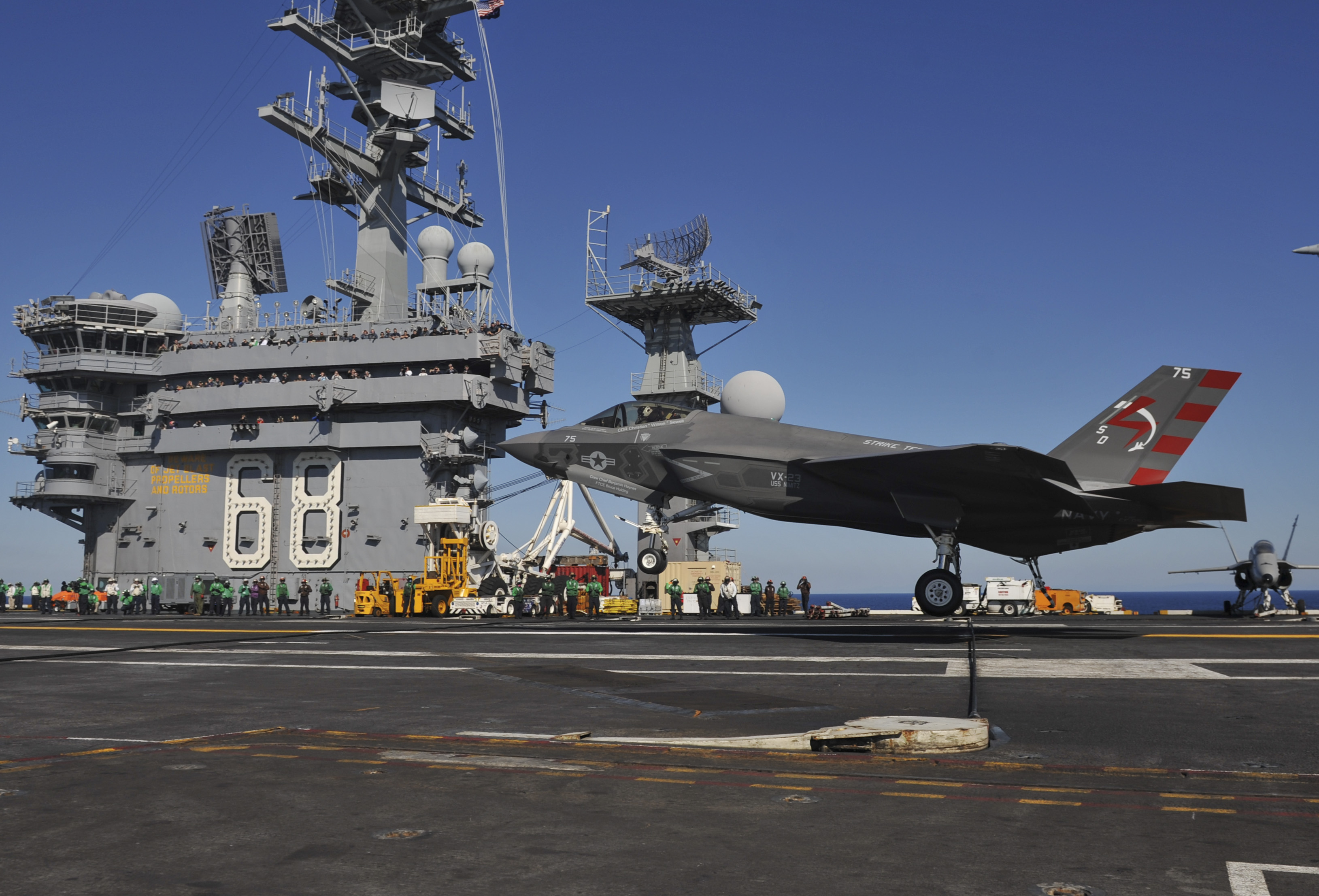 USS NIMITZ CVN-68 Landung F-35C am 03.11.2014 Bild: U.S. Navy