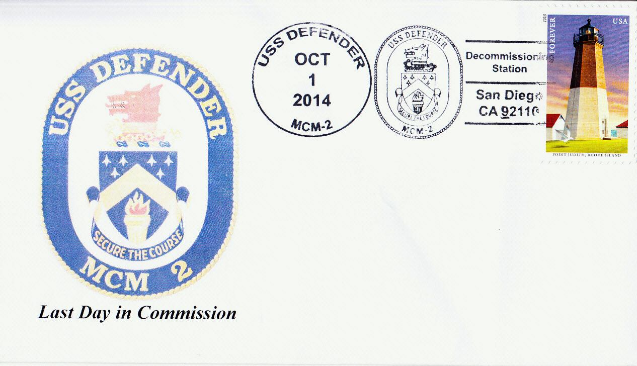 Beleg USS DEFENDER MCM-2 Decommissioning von Karl Friedrich Weyland