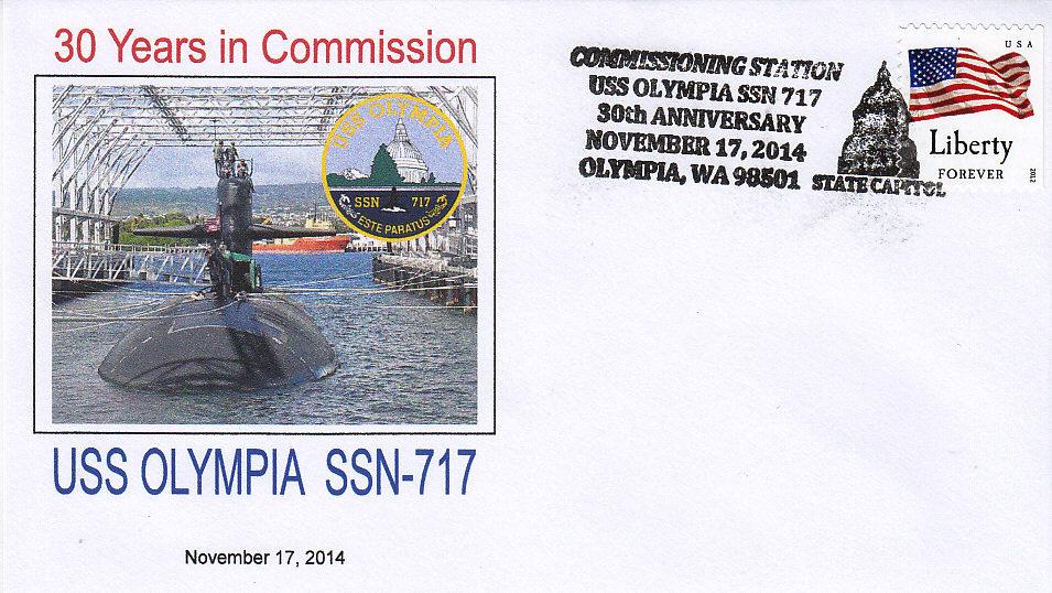 Beleg USS OLYMPIA SSN-717 30 Jahre im Dienst aus Olympia, WA
