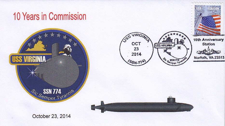 Beleg USS VIRGINIA SSN-774  10 Jahre im Dienst
