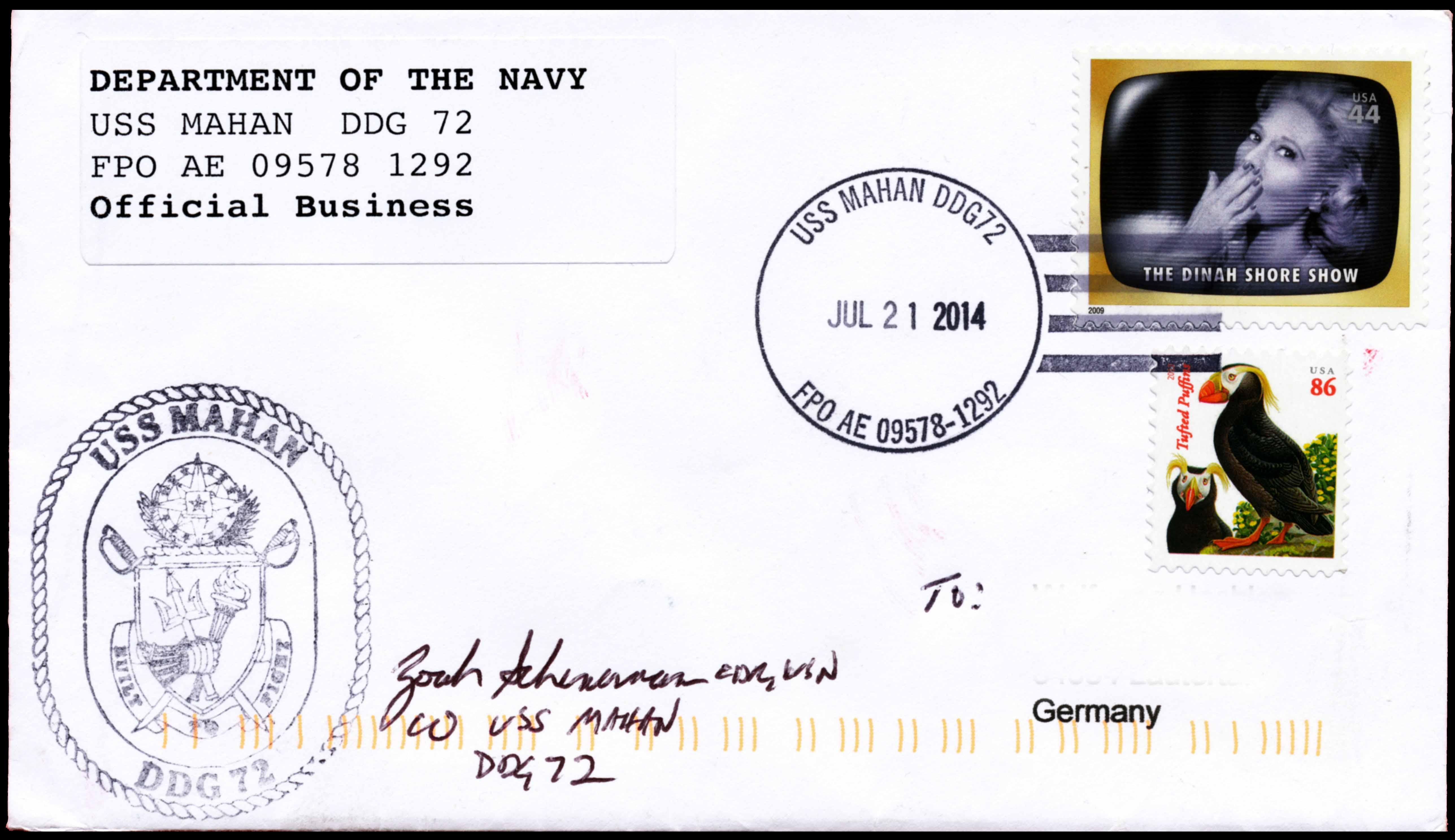 Beleg USS MAHAN DDG-72 vom 21.07.2014 von Wolfgang Hechler