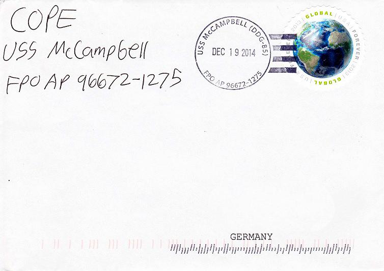 Beleg USS McCAMPBELL DDG-85 vom 19.12.2014 von Daniel Gornig