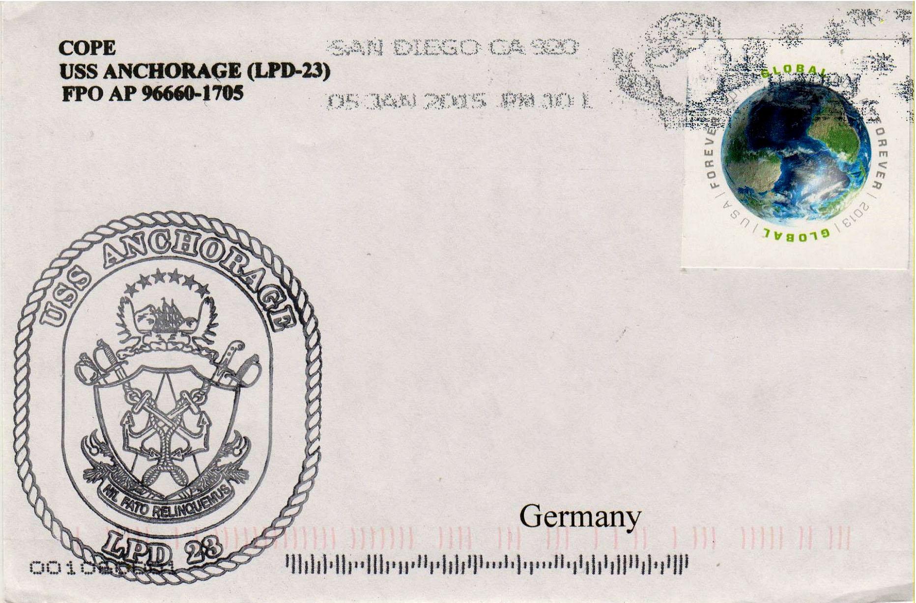 Beleg USS ANCHORAGE LPD-23 vom 05.01.2015 von Heinz Greger