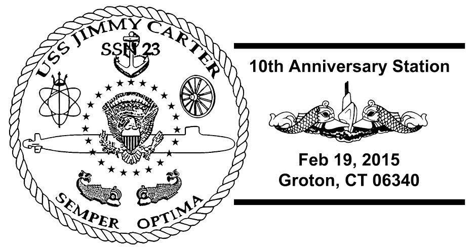 Sonderpoststempel USS JIMMY CARTER SSN-23 10 Jahre im Dienst Design: Wolfgang Hechler