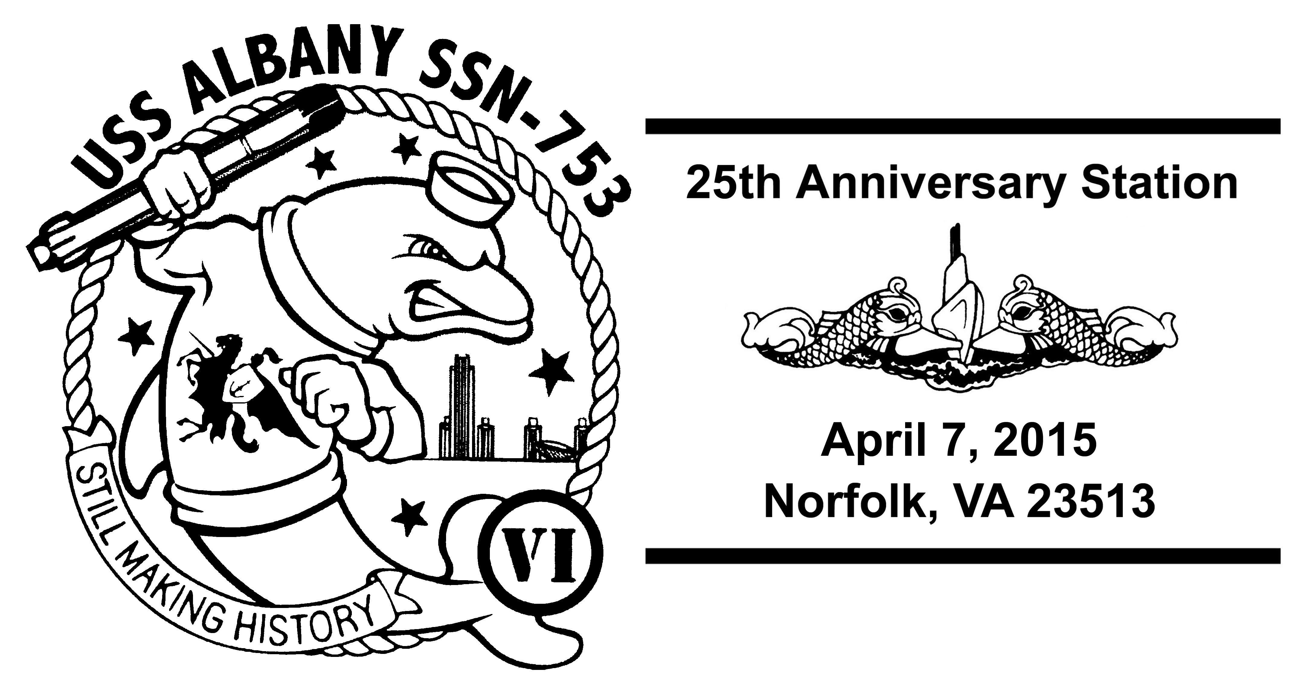Sonderpoststempel USS ALBANY SSN-753  25 Jahre im Dienst Grafik: Wolfgang Hechler