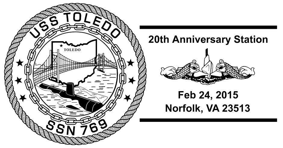 Sonderpoststempel USS TOLEDO SSN-769 20 Jahre im Dienst Design: Wolfgang Hechler