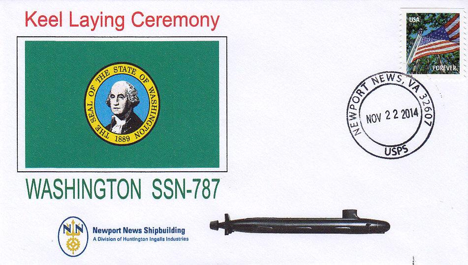 Beleg USS WASHINGTON SSN-787 Kiellegung