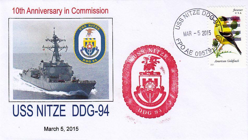 Beleg USS NITZE DDG-94  10 Jahre im Dienst