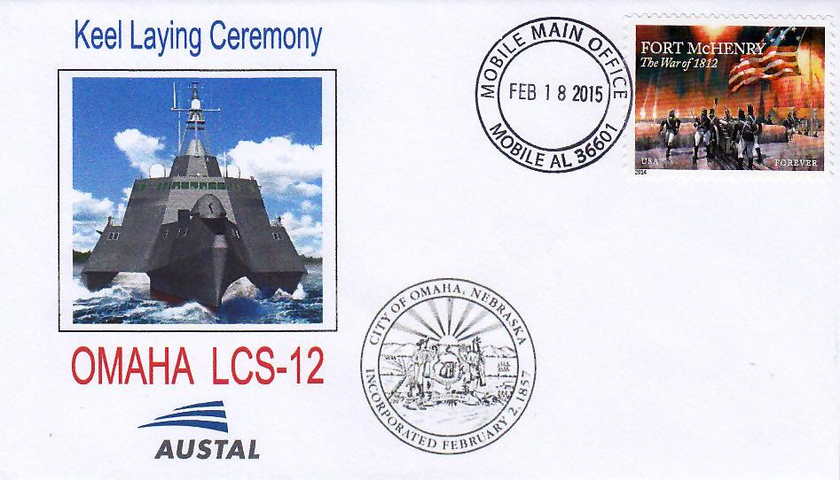 Beleg USS OMAHA LCS-12 Kiellegung