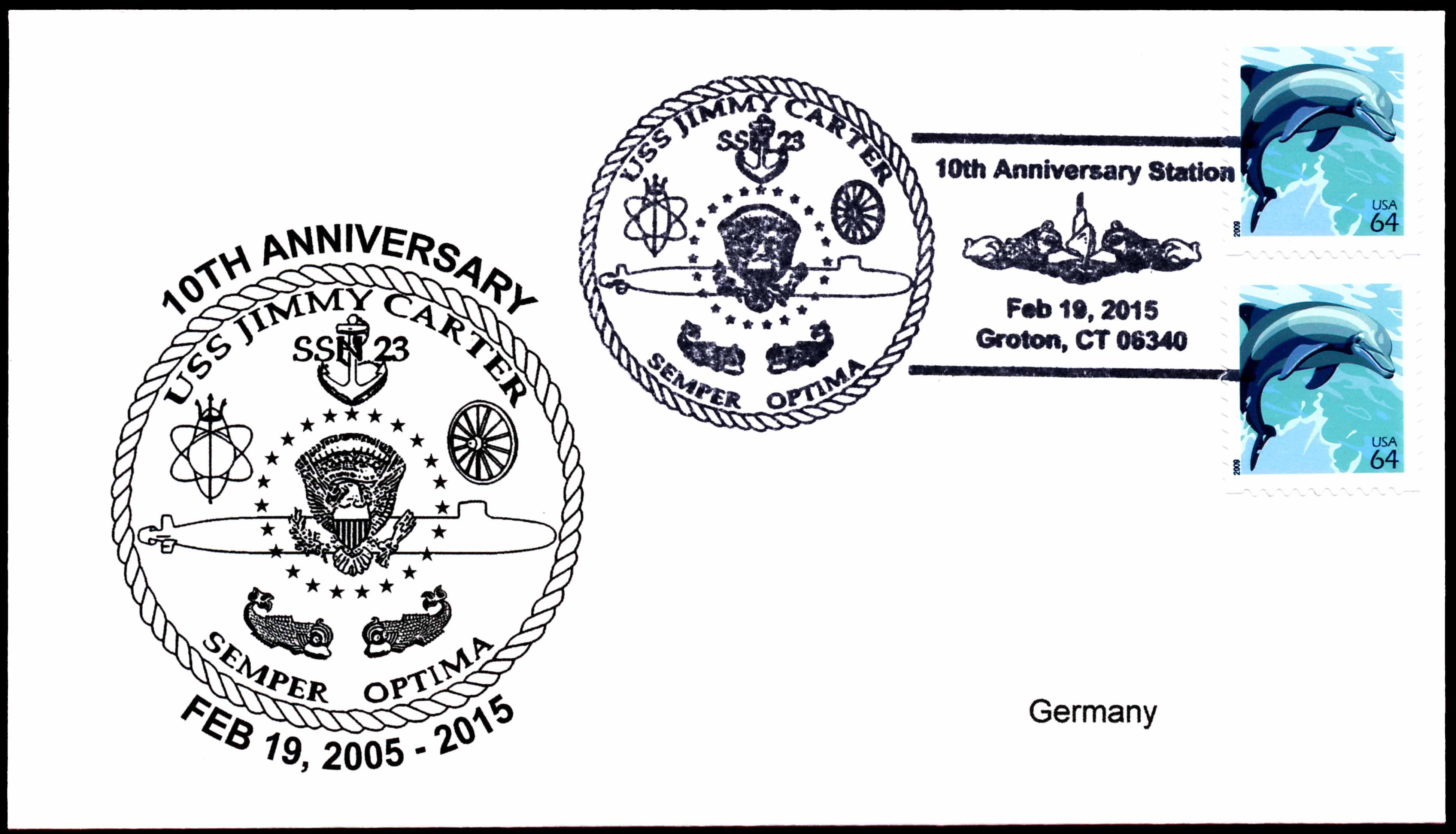 Beleg USS JIMMY CARTER SSN-23  10 Jahre im Dienst Beleg: Wolfgang Hechler
