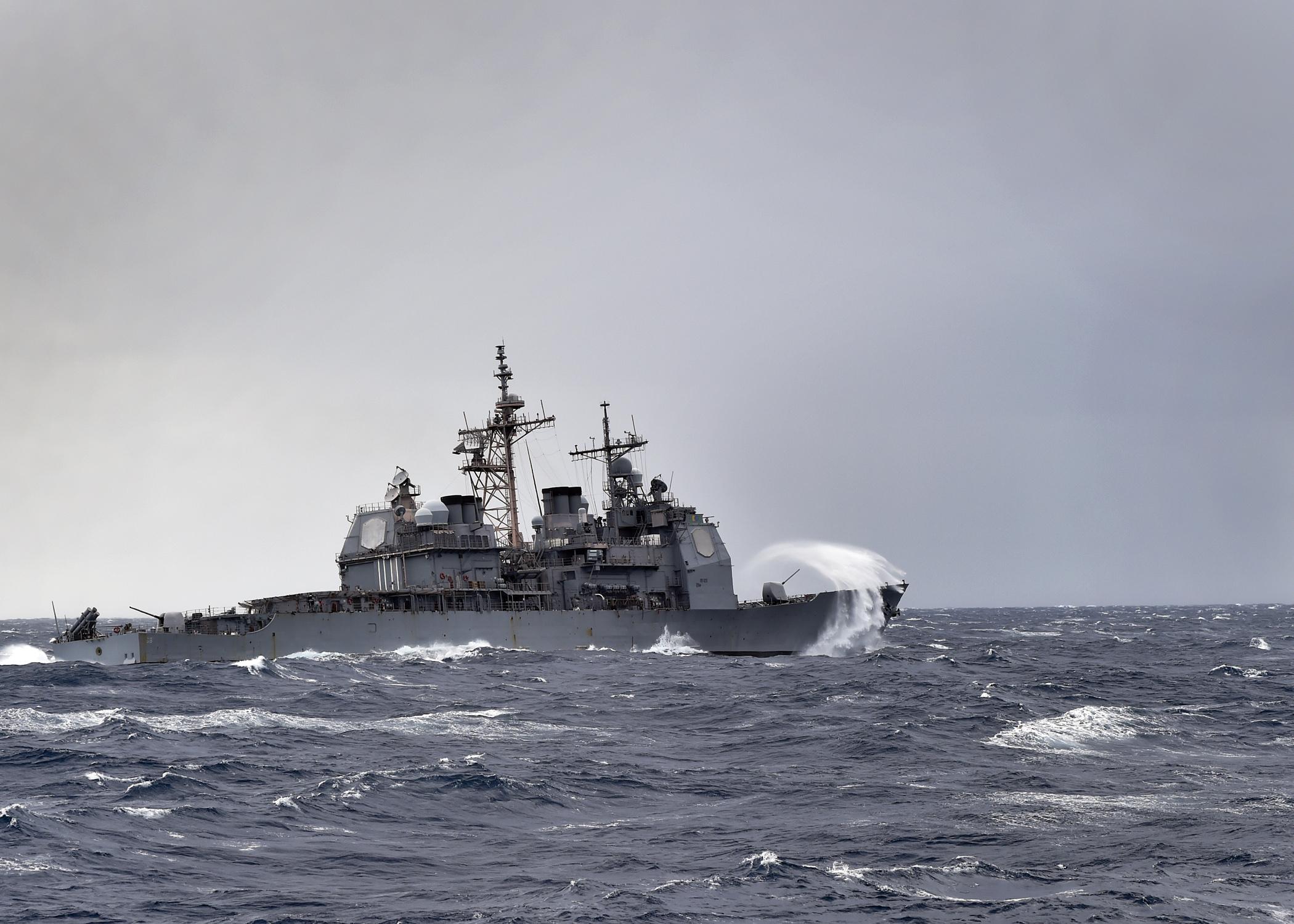 USS ANZIO CG-54 am 30.03.2015 im Atlantik Bild: U.S. Navy